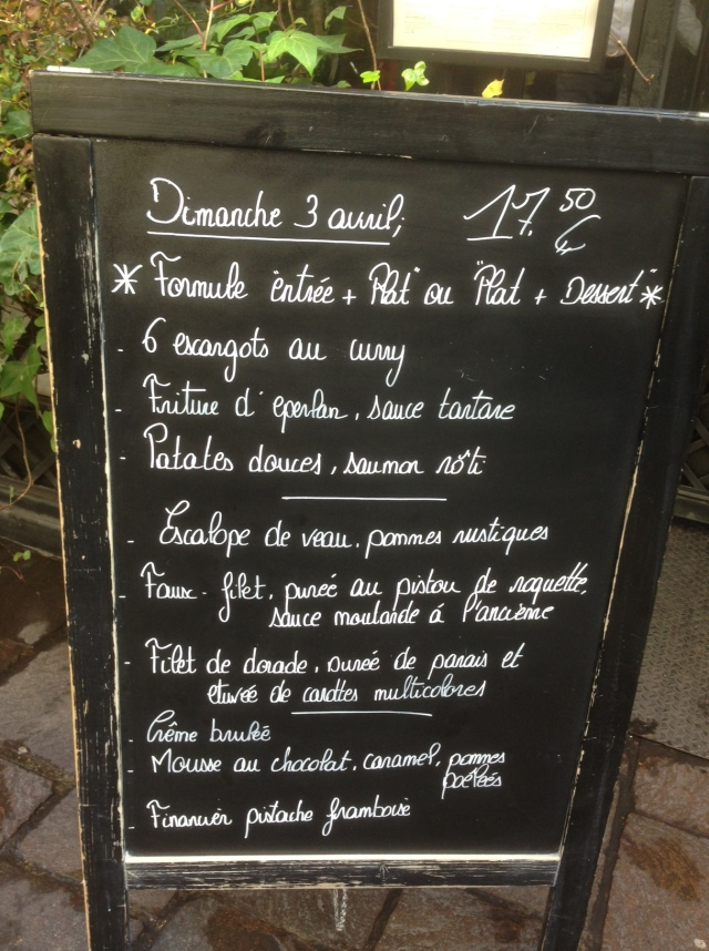 L'Escargot menu